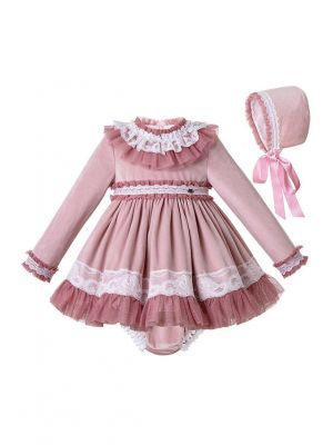 3 Pieces Lace Knitted Velour Fabric Babies Autumn Dress + Cotton Shorts + Bonnet