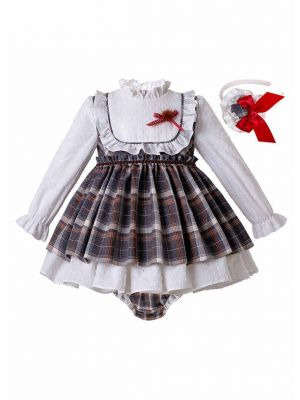 3 Pieces Babies Multi-color With Ruffle Collar Dress + Hand Headband
