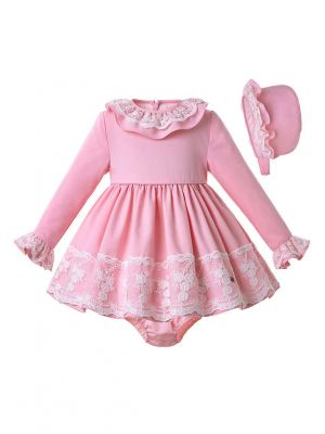 3 Pieces Babies Pink Knit Fluffy Autumn Birthday Party Lace Dress + Bloomers + Cute Bonnet