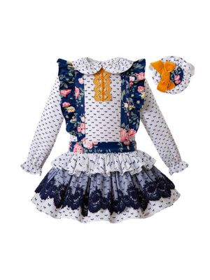 3 Pieces Babies Doll Collar Outfits + Floral Embroidery Lace Ruffled Dress + Hand Headband