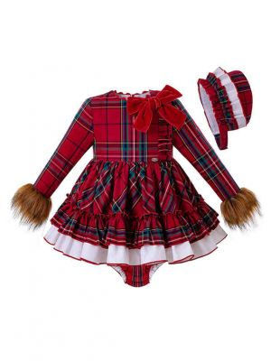 3 Pieces Christmas Babies Faux Fur Sleeve Vintage Vestidos Plaid Elegant Princess Dress + Bloomers + Hat