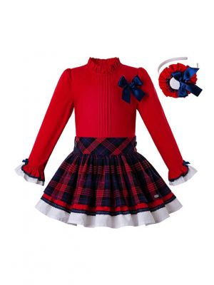 Christmas Party Girls Clothing Set Red Shirt With Bow + Red Grid Skirts + Hand Headband