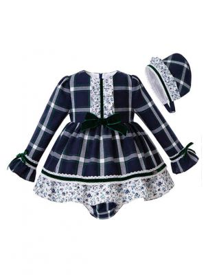 3 Pieces Party Babies  Grid Layered Boutique Outfits +  Bloomers + Hat
