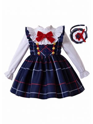 Bow Blue Grid Suspender Girl Dress + White Blouse + Hand Headband