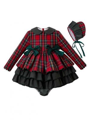 3 Pieces  Party Babies Red Grid Layered Boutique Outfits + Blackish Green Bloomers + Hat