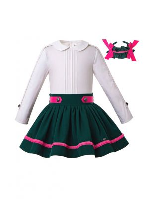 Girls Boutique Clothing Set Doll Collar White  Shirt + Blackish Green Skirt +Hand Headband