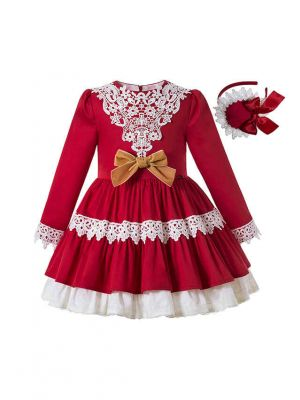 2020 Sweet Autumn Princess Red Layered Ruched Girls Boutique Dress + Handmade Headband
