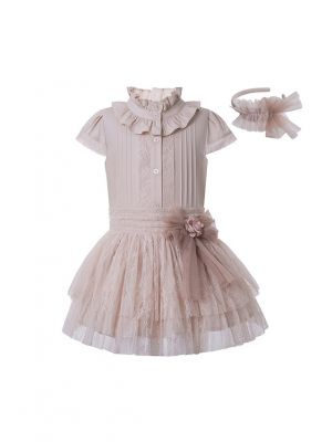 Girls Summer Beige Bow Lace Shirt + England Style Princess Skirt +Hand Headband