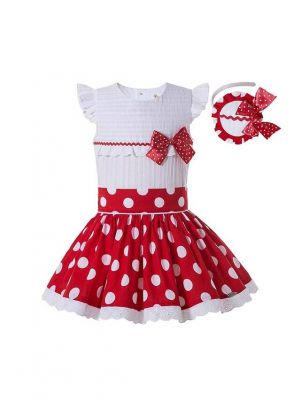 Boutique Preppy Style Girls White Shirt With Sweet Bow + Princess Party Red Dot Skirt +Hand Headband