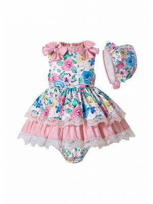 Sweet 3 Pieces Babies Boutique Floral-printed Lace Layer Outfit + Cute Bloomers + Hat