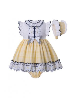 3 Pieces Babies Summer Yellow Ruffled Boutique Outfits + Cute Bloomers + Hat