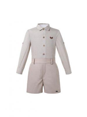 Boys Khaki Long Sleeve Striped Skirt & Shorts