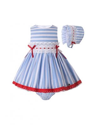 3 Pieces Baby Dress with Red Bows White Lace + Pants + Headband