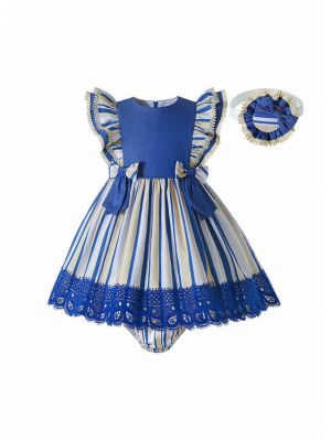 New Baby Girls Blue & Cream Striped Dress + Handmade Headband