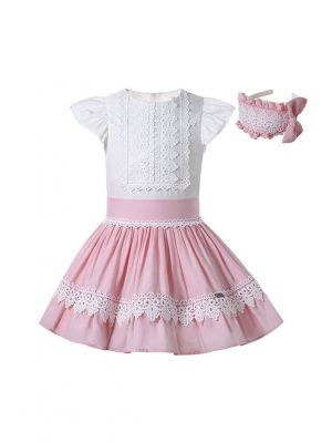 Sweet 3-Piece Lace Clothes Set White Shirt + Pink Skirt + Headband