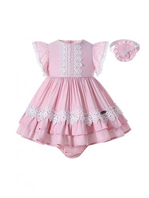 Baby Girls Cutest Summer Lace Pink Dress with Sweet Handmade Headband