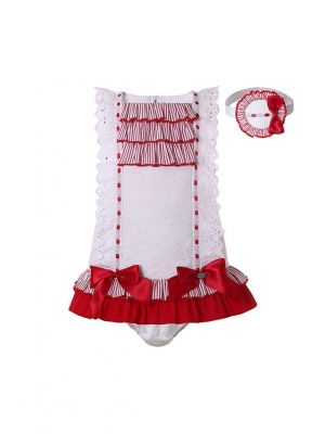 3 Pieces White Lace Baby Sleeveless Dress with Red Bows + Pants + Headband