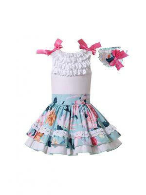 Pure White Top and Printed Light Blue Skirt + Handmade Headband
