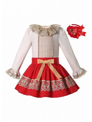 Double-layered Collar White Top + Red Skirt Girls Clothes Set with Handmade Headband