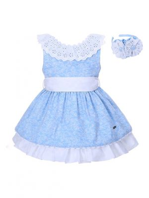Blue Backless Lace Girl Dress