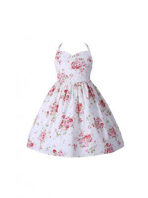 Summer Beach Style Floral Print Backless Dress