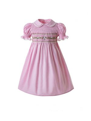 Pink Party Girls Doll Collar Handmade Embroidered Smocked Dresses