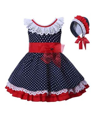 Navy Blue Dots Girls Dresses