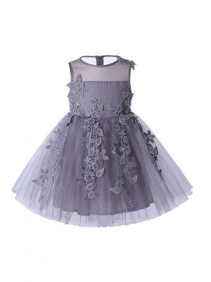 Floral Sleeveless Lace Grey Girl Dress