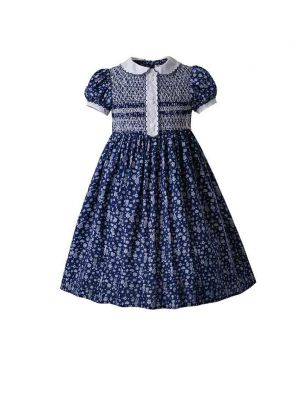 Single Breasted Doll Collar smocked  Dress