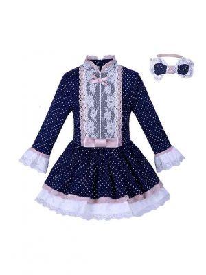 Navy Dots Girls Dresses