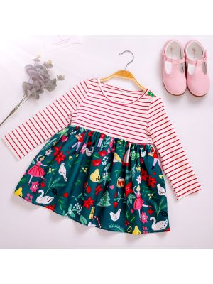Striped Girl Flower Printed Casual Dress