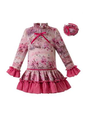 Christmas Rose Red Flower Printed Girl Dress With Headwear