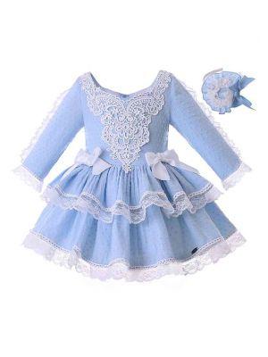 Light Blue Girl Party Dress With Headwear