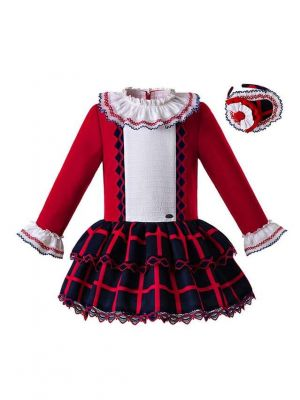 New New Arrival Red Plaid Dress With Headwear