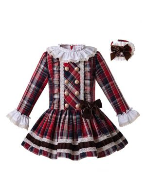 (Only 2Y)Wine Red Baby Girls Cotton Grid Dress with Headwear Retro Style