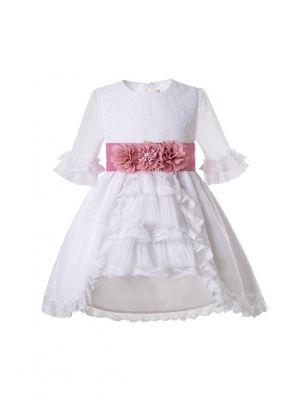 (Only 3Y)White Communion Dress With Belt