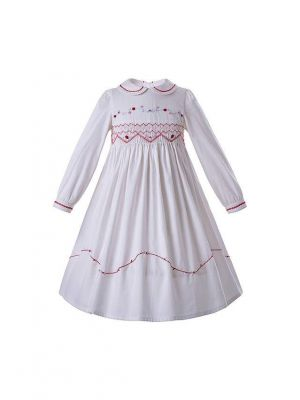 (ONLY 5Y left) White Doll Collar Embroidery Handmade Smocked Long Sleeve Girls Dress