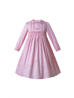 (Only 2Y 3Y 4Y 5Y 8Y 12Y)Pink Flower Embroidered Cotton Holiday Smocked Long Sleeve  Girls Dress
