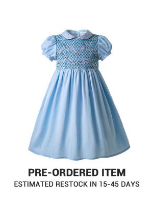 (PRE-ORDER)Blue Boutique Girls Doll Collar Handmade Embroidered Smocked Dresses