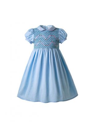 Blue Boutique Girls Doll Collar Handmade Embroidered Smocked Dresses
