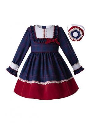 (Only 8Y)  New Long Sleeve Blue Dress+Buttom Red + Headband