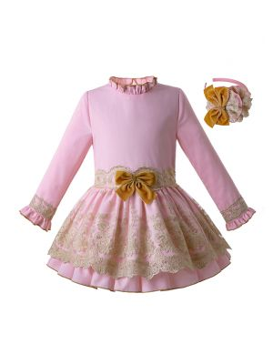 (Only 3Y 5Y)Newest Baby Girl Party Dress With Pink Headband Long Sleeve Lace Dress