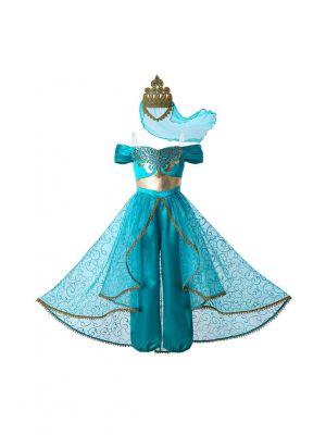 Summer Jasmine Princess Dress up Costume Cosplay Aladdin Halloween Party Fantasy Kids Clothes for Girls + Crown Veil