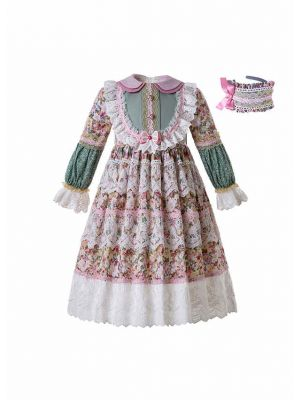 Lace Boutique Flower Embroidered Printed Doll Collar Girls Dress With Headband