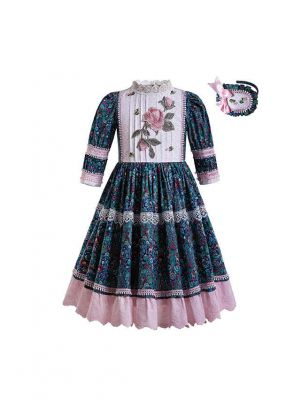 (ONLY 2Y) Wedding Communion Blue Small Floral Printed Dot Lace Lovely Long Dress With Headband