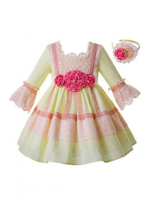 Girl Yellow And Pink Flower Lace Long Dress + Handmade Headband