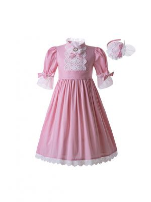 Lace Pink Solid Color Princess Wedding Party Standing Collar Long Flower Dress With Headband