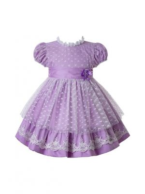 Summer Purple Heart-shaped Mesh Princess Dresses For Girls With Bow And Double Flowers