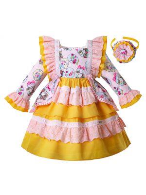 Easter Flower Bunny Pattern Yellow Girl Dress With Bows + Handmade Headband