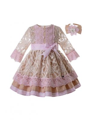 Wedding Bow Carved Hollow Girls Dress With Headband